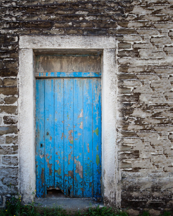 Old blue door of an old building